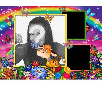 photo frame 3 photos with rainbow background flowers and happy cows