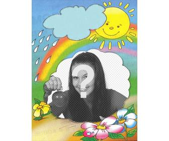 photo frame with the sun on the background emerging from cloud and the rainbow where u can put ur photo