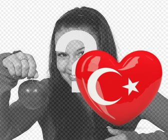 sticker of heart with the flag of turkey for ur photos