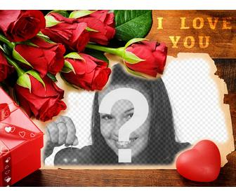 love postcard with red roses to edit with ur photos