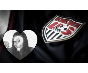 photomontage to edit with shirt and shield of united states soccer team