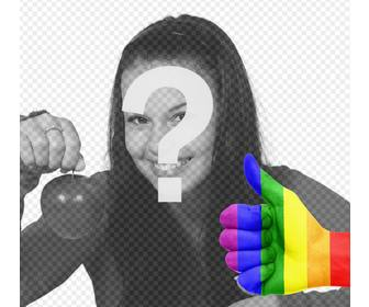 hand with thumb up and the rainbow flag to add in ur photos