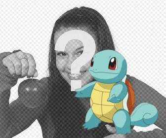 Photomontage to add the Pokemon Squirtle in your photos for free