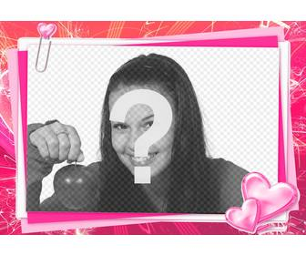 pink photo frame to edit with ur photo love card with hearts