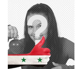 hand with syria flag to add ur photo online