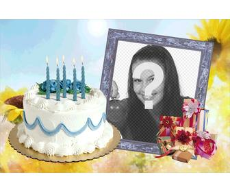 Terrific Photo Frame With Birthday Cake And Ts Funny Birthday Cards Online Fluifree Goldxyz