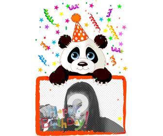 birthday greeting postcard with panda