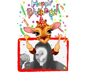 customizable greeting card with giraffe birthday