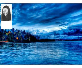 make ur custom twitter wallpaper with ur photo and background landscape of water and forest