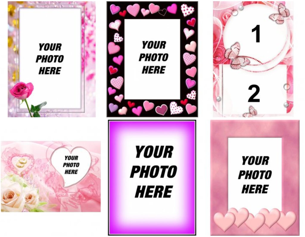 Effects and picture frames of pink color
