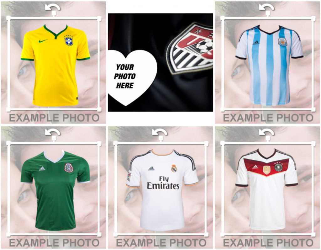 Photo effects and stickers of soccer teams shirts for your photos