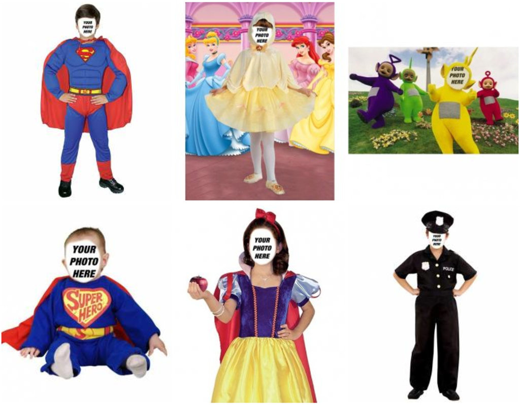 Photographic montages of costumes for children