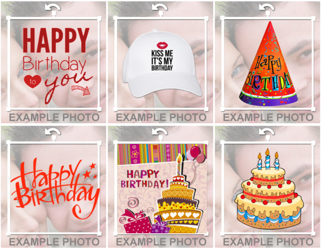 Stickers of happy birthday, balloons cakes to decorate your photos