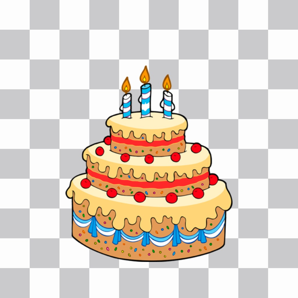 Sticker with vanilla birthday cake, cherries and candles
