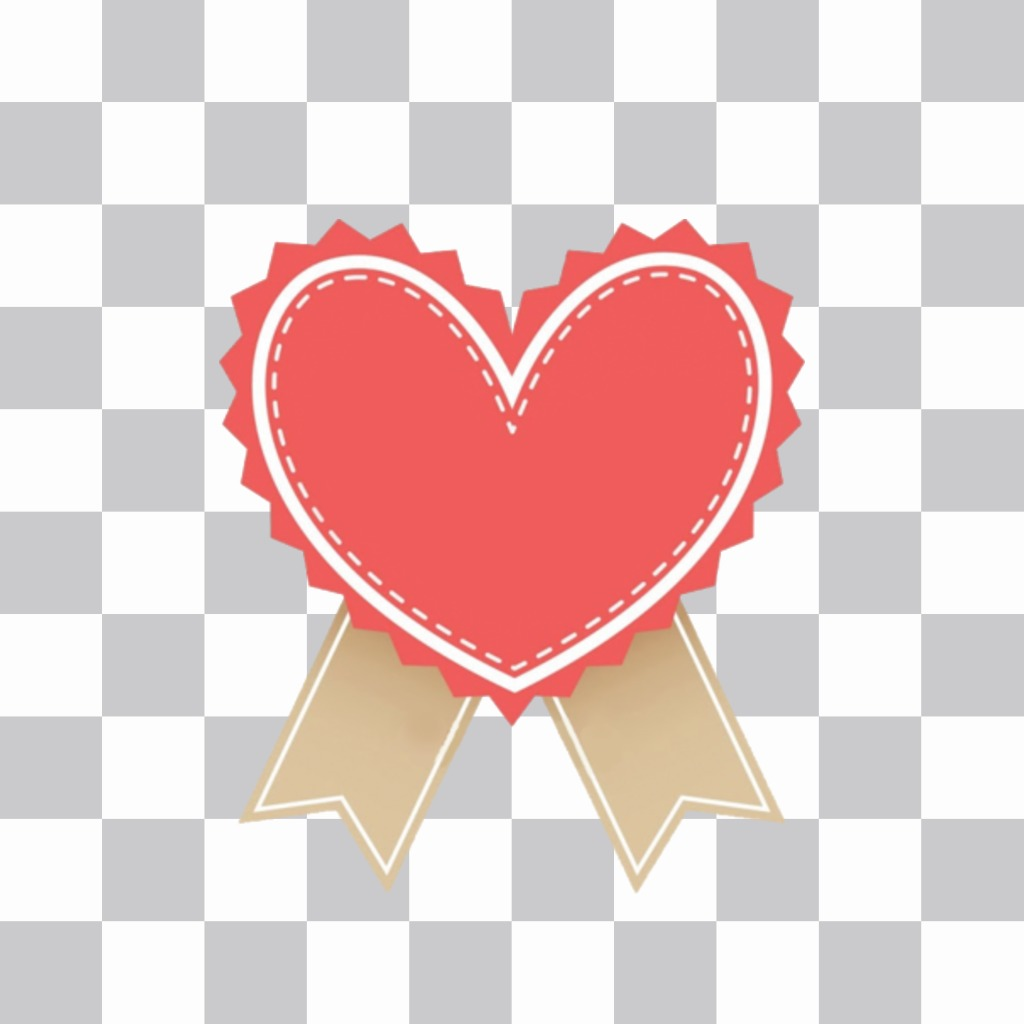 Sticker of a simple heart with dotted trim on edge