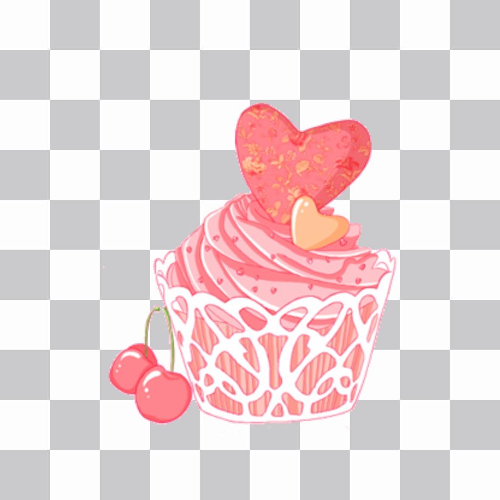 Sticker of a pretty pink cupcake