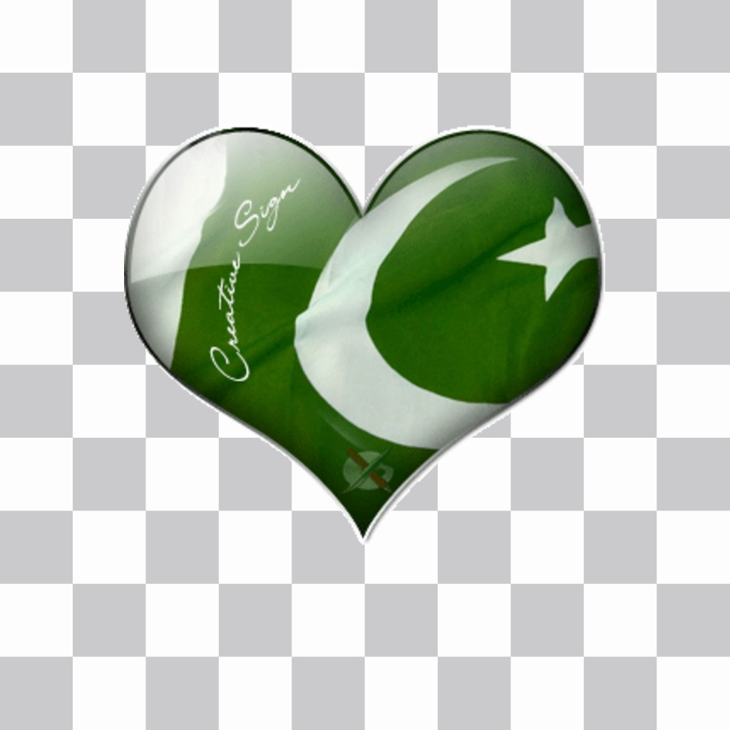 Heart shaped sticker featuring the pakistan flag