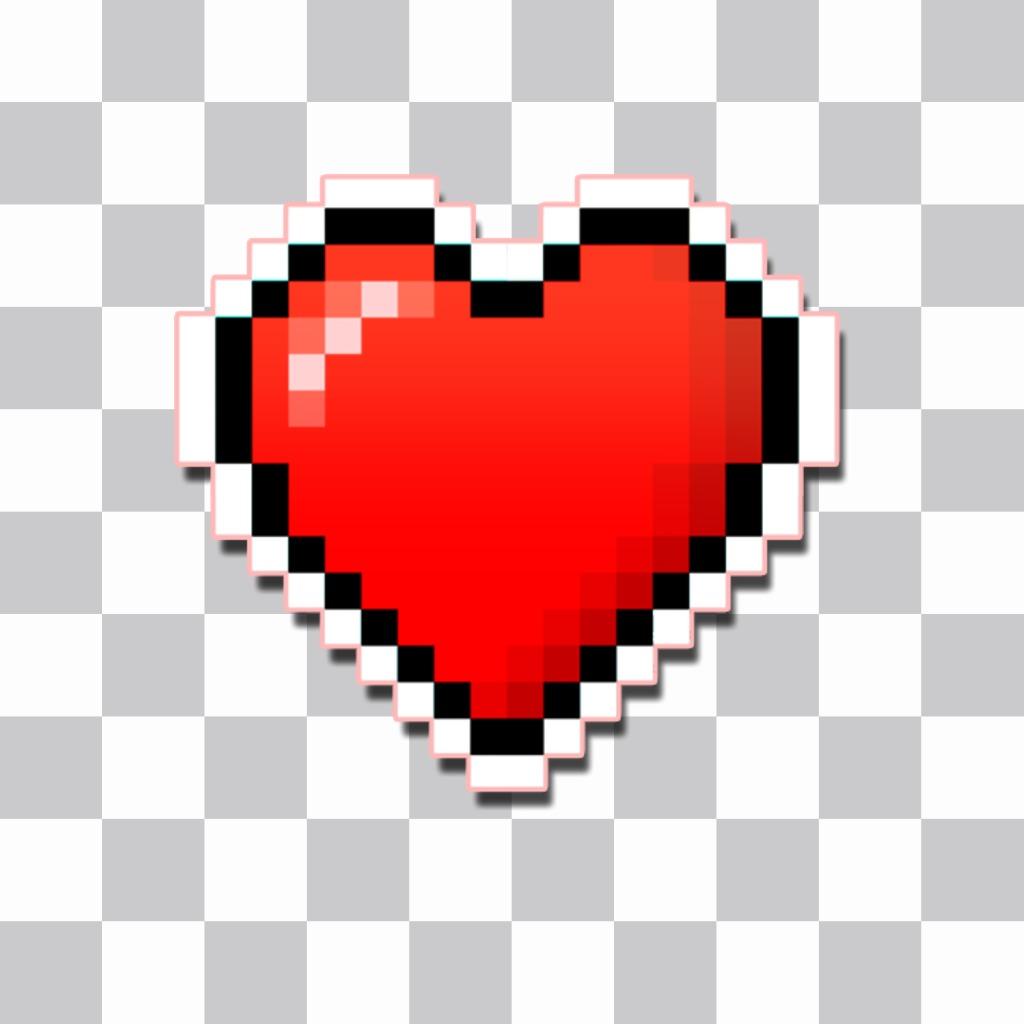 A heart sticker pixelated