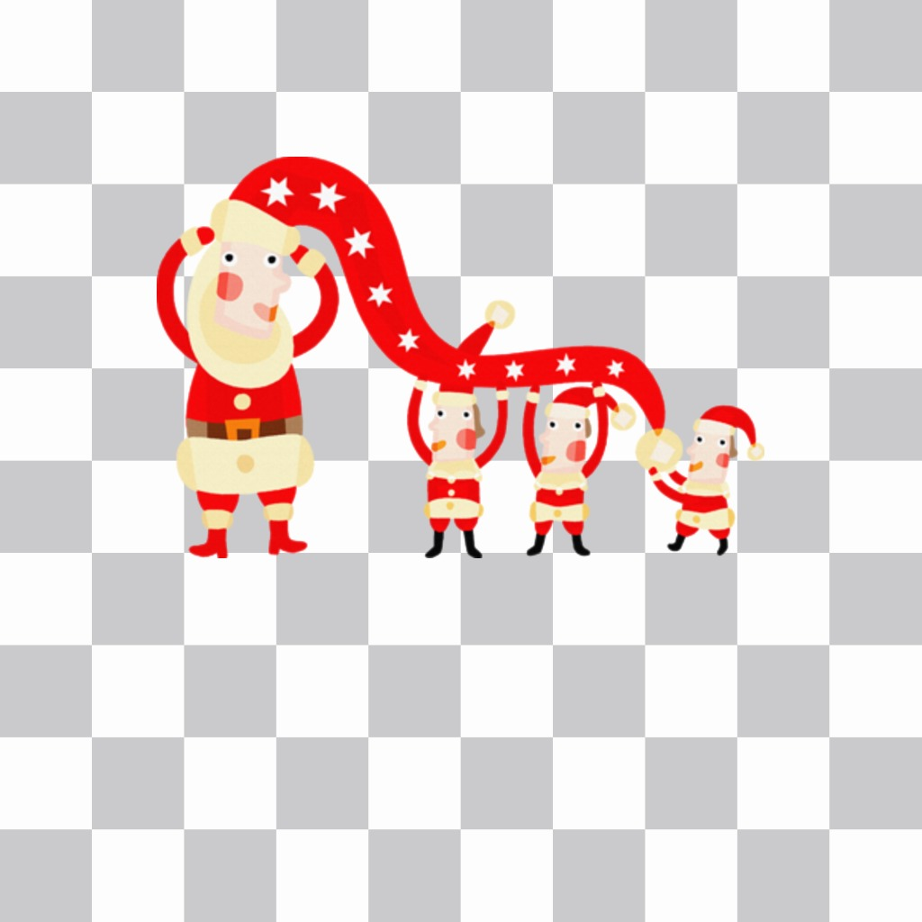 Sticker with some elves dressed as Santa Claus