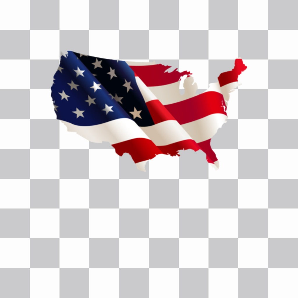 USA map with flag background as a sticker to put on your profile photos
