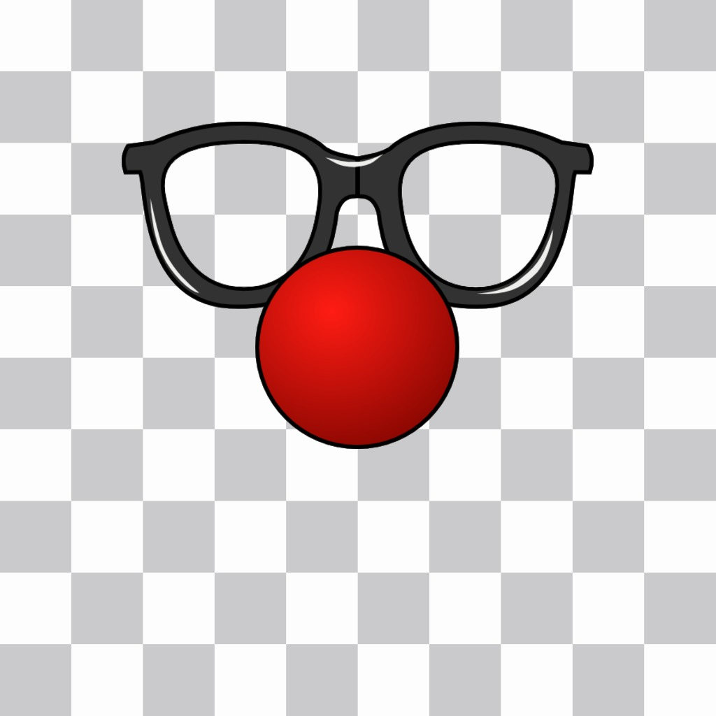 Glasses and a red clown nose that you can put in your photos as a sticker