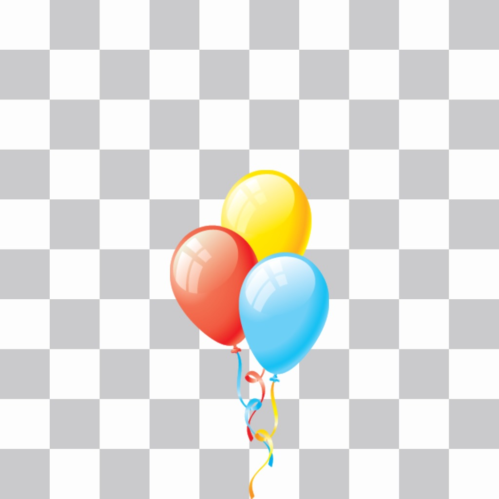 Sticker of colorful balloons to decorate birthday photos