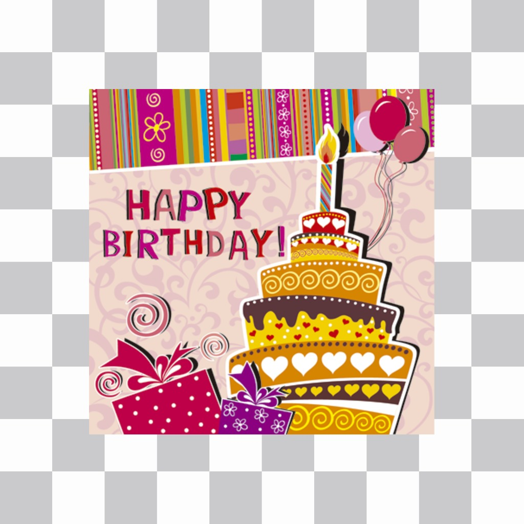 Sticker to congratulate a birthday with the image of a cake at a party that you can embed in your photos. With text HAPPY BIRTHDAY, a cake with a candle and ornaments drawn birthday