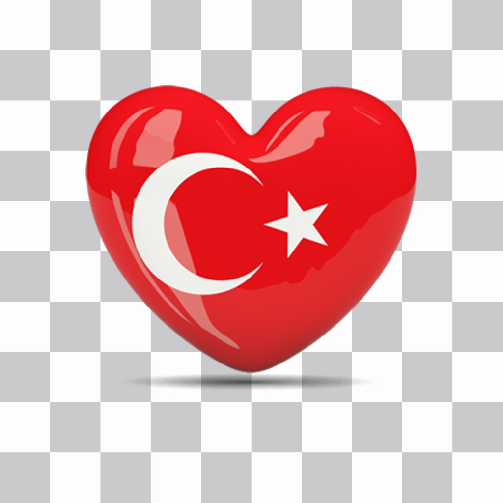 Sticker of a heart with the flag of Turkey for your photos
