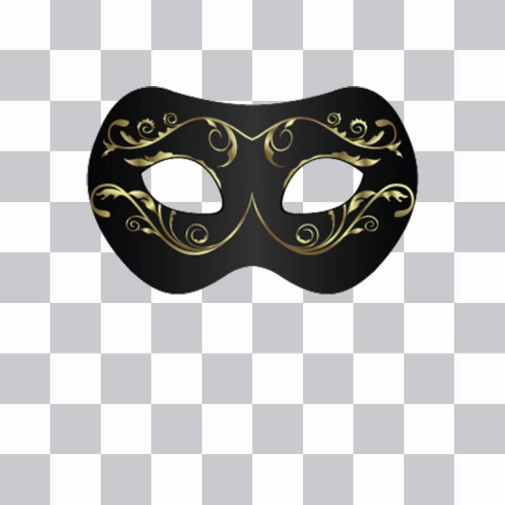 Black mask with gold to put on your photos