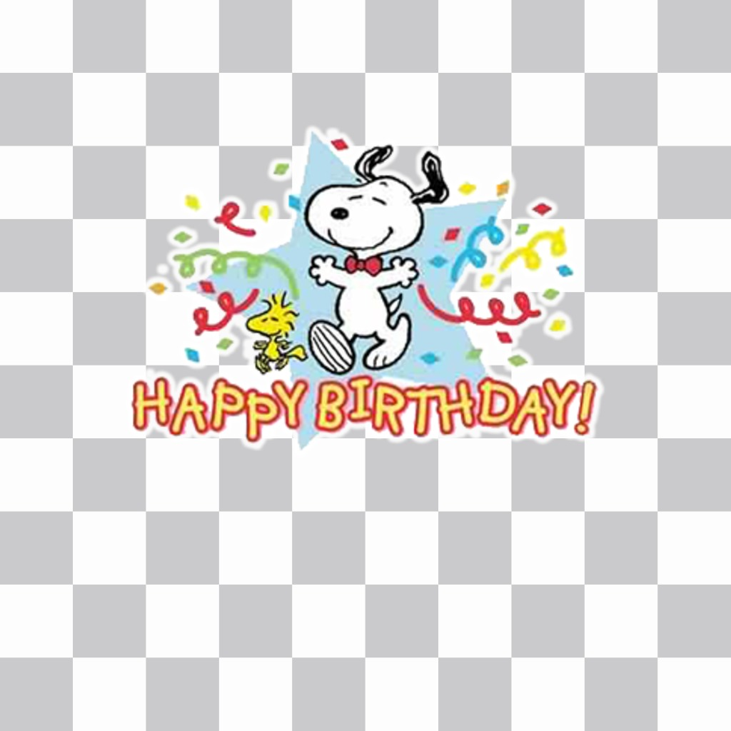 Sticker with snoopy and the text happy birthday to celebrate with ur photos