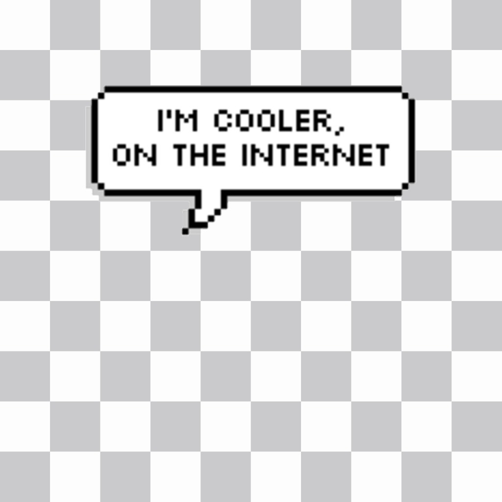 Decorative sticker of a speech balloon with the phrase IM COOLER, ON THE INTERNET